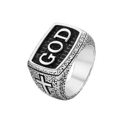 NEW Retro Mens Stainless Steel God Cross Prayer Amulet Signet Band Ring Biker God Mens Ring