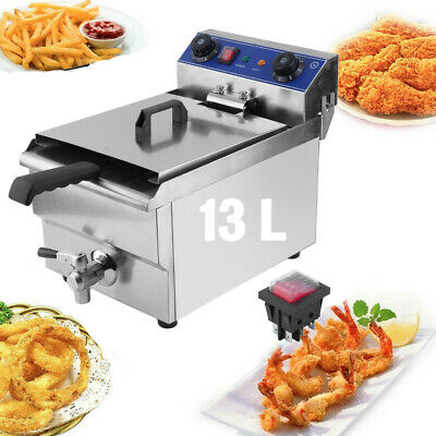 Commercial Restaurant Electric 13l Deep Fryer Stainless Steel Timer Drain Net