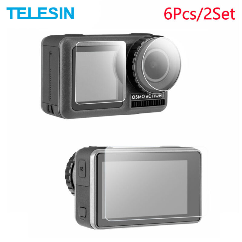 TELESIN Tempered Glass 6x Screen 6x Lens Protector Film Cover for Osmo Action
