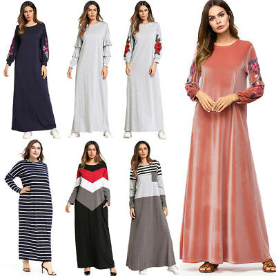 Women Muslim Abaya Cocktail Maxi Dress Casual Longsleeve Kaftan Gown Robe Party