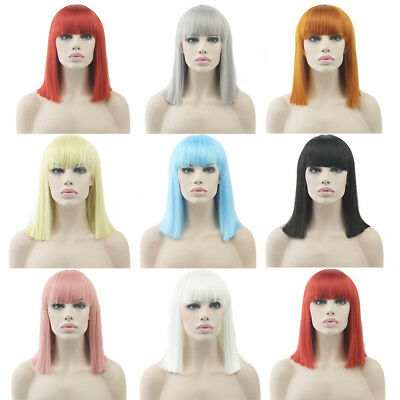 Women's Straight Short Wig Pink Gray Blue Cosplay Party Colorful Headwear Wigs - Short Pink Wigs