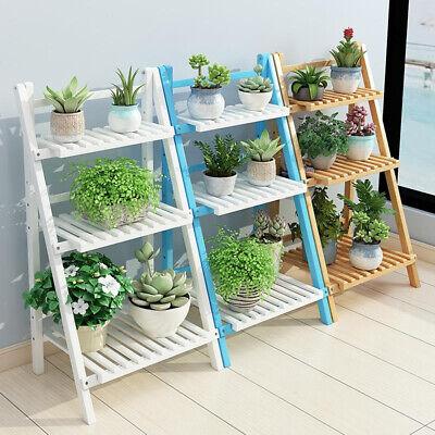 3 Tier Flower Plant Pot Shelf Stand Display Ladder Garden Rack Step Style Bamboo
