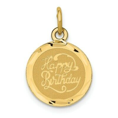 Gent's Ladies 14k Yellow Gold Polished Happy Birthday Disc Fashion Charm Pendant