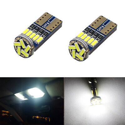 2 x 6000k Bright White Map Dome License Plate Light LED T10 194 168 W5W Bulbs
