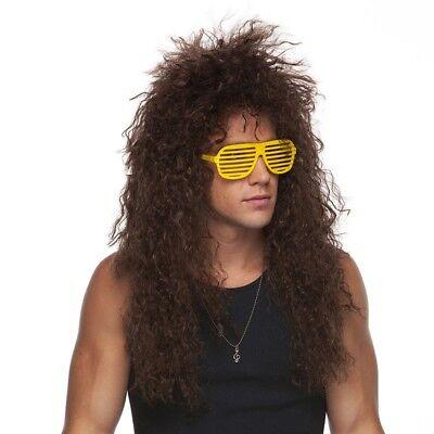 80's Heavy Metal GLAM ROCK Rocker Curly Jon Bon Jovi Winger Wig Brown - 80s Glam Rocker