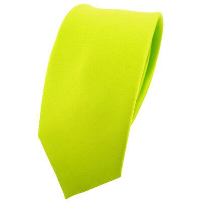 schmale TigerTie Krawatte grün neongrün leuchtgrün einfarbig Polyester - Binder