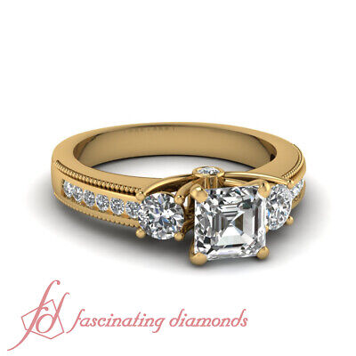1.20 Ct Asscher Cut Diamond Yellow Gold Engagement Ring With Round Accents GIA