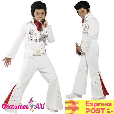 Kids Elvis Presley Jumpsuit Boys 50s Costume 1950s Rock N Roll Pop Star White