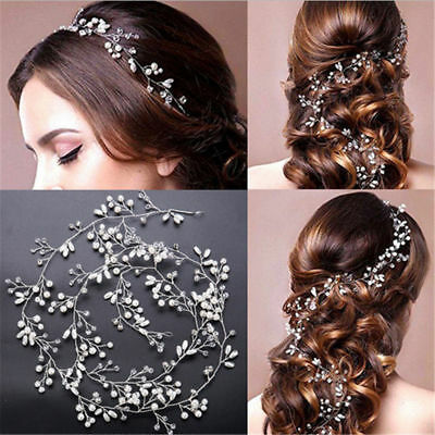 Women Pearl Wedding Hair Vine Crystal Bridal Accessories Headbands 35cm Sliver (Sliver Hair)