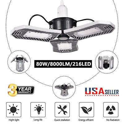 80w 8000lm Deformable Led Garage Light E27 Work Shop Home Ceiling High Bay Lamp