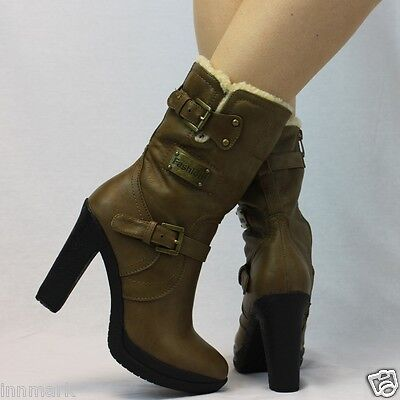 Full Zip Heels (Ankle Warm Full Fur Lining Zip Block Heel Buckle Platform Khaki Boots 3-8 /945 )