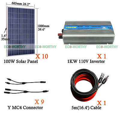 Eco 1Kw 200W 500W 100W 12V Solar Panel System W  Controller Or Inverter For Home