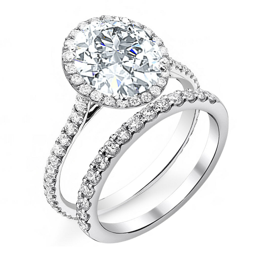2.40ctw Natural Round Cut Halo Pave Diamond Engagement Bridal Set - GIA Cert