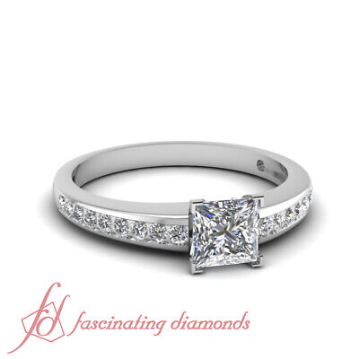 .90 Ct Princess Cut And Round Diamond Simple Channel Set Engagement Rings GIA