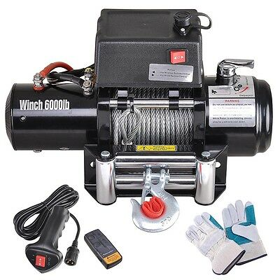 6000lbs Recovery Electric Winch Trcuk Trailer Rope Cable Wireless Remote 12V