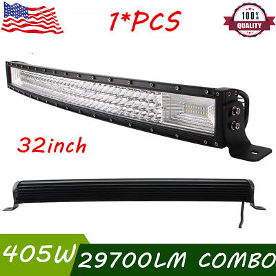 Slim 32inch 405W Tri-Row Curved LED Work Light Bar fits JEEP UTE 4WD Truck Boat