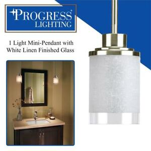 NEW Progress Lighting P5147-09 1 Light Mini-Pendant with White Linen Finished Glass Is Complemented with a Clear Edge...