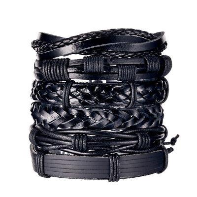 6pcs Men Women Black Braided Leather Bracelet Wrap Wristband Bangle Set Gift - Black Gift Wrap
