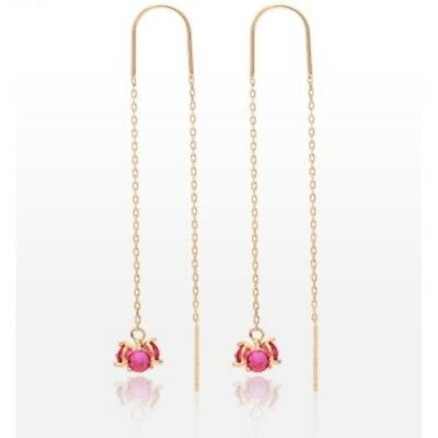 TPD Solid 14K Yellow Gold Ruby Color Drop Long Threader Dangle a Pair Earrings