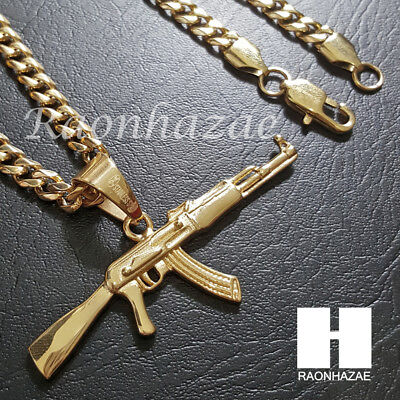 Iced 316L Stainless steel AK-47 Gun Pendant w/ 5mm Cuban Chain SG33 316l Steel Pendant Chain
