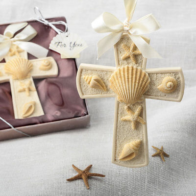 Beach and Sea Themed Cross Ornament Bridal Shower Wedding Favors](Beach Themed Wedding Favors)