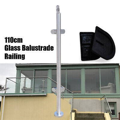 Railing Post Balcony Stairs Pool Stainless Steel Corner Post Glass Clamp Post UK