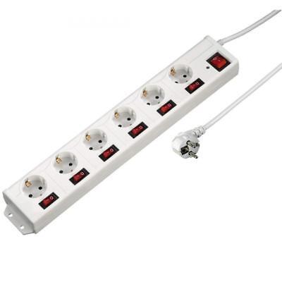 Hama XL 6-Fach Steckdosenleiste Einzeln Schaltbar Mit Überspannungsschutz Weiß  - Steckdose Mit Überspannungsschutz Steckdosenleiste