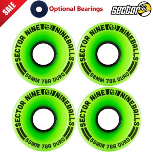 Sector 9 NINE BALL 58mm 78a Green Skateboard Longboard Wheels optional Bearings
