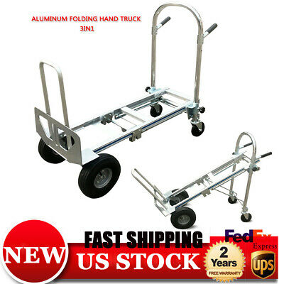 3-in-1 Aluminum Hand Truck Foldable Dolly Cart 770 Lb Capacity Ergonomic Wheel