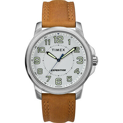 Timex Tw4B16400Jv Men'S Expedition Metal Field Watch White Dial/Brown Strap