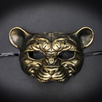 Leopard Animal Masquerade Mask, Men's Masquerade Mask, Gold Ball Mask (Leopard Masquerade Masks)