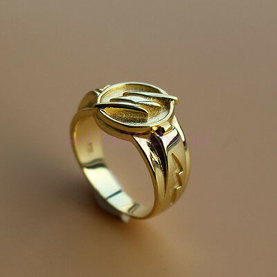 The FLASH Ring Open Cover Superhero 18K Gold Plated 925 Sterling - Gold Flash Plating