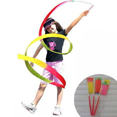 2/4m Dance Ribbon Gym Rhythmic Art Gymnastic Ballet Streamer Twirling Rod Gift - Dance Ribbon