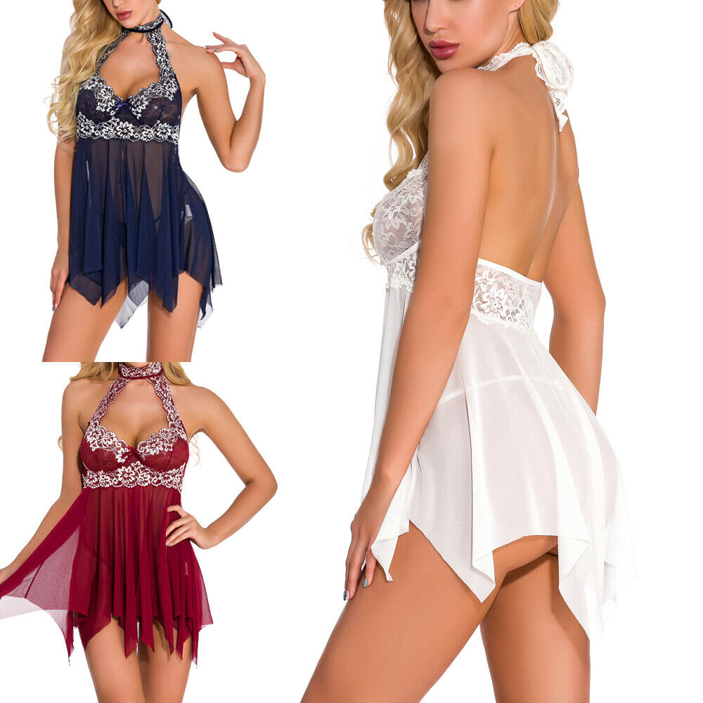 Sexy Women Lingerie Open Front Babydoll Lace Chemise Sleepwear Sheer Mesh Robe Clothing, Shoes & Accessories