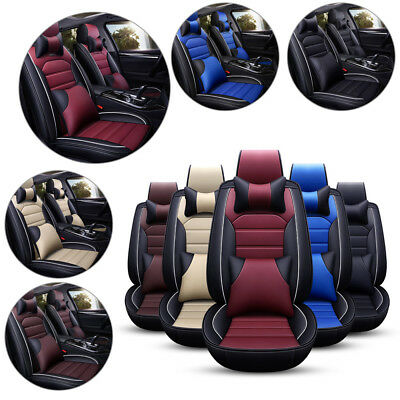 5D Car Auto Seat Covers Deluxe Front Rear PU Leather Cushion Universal Full Set