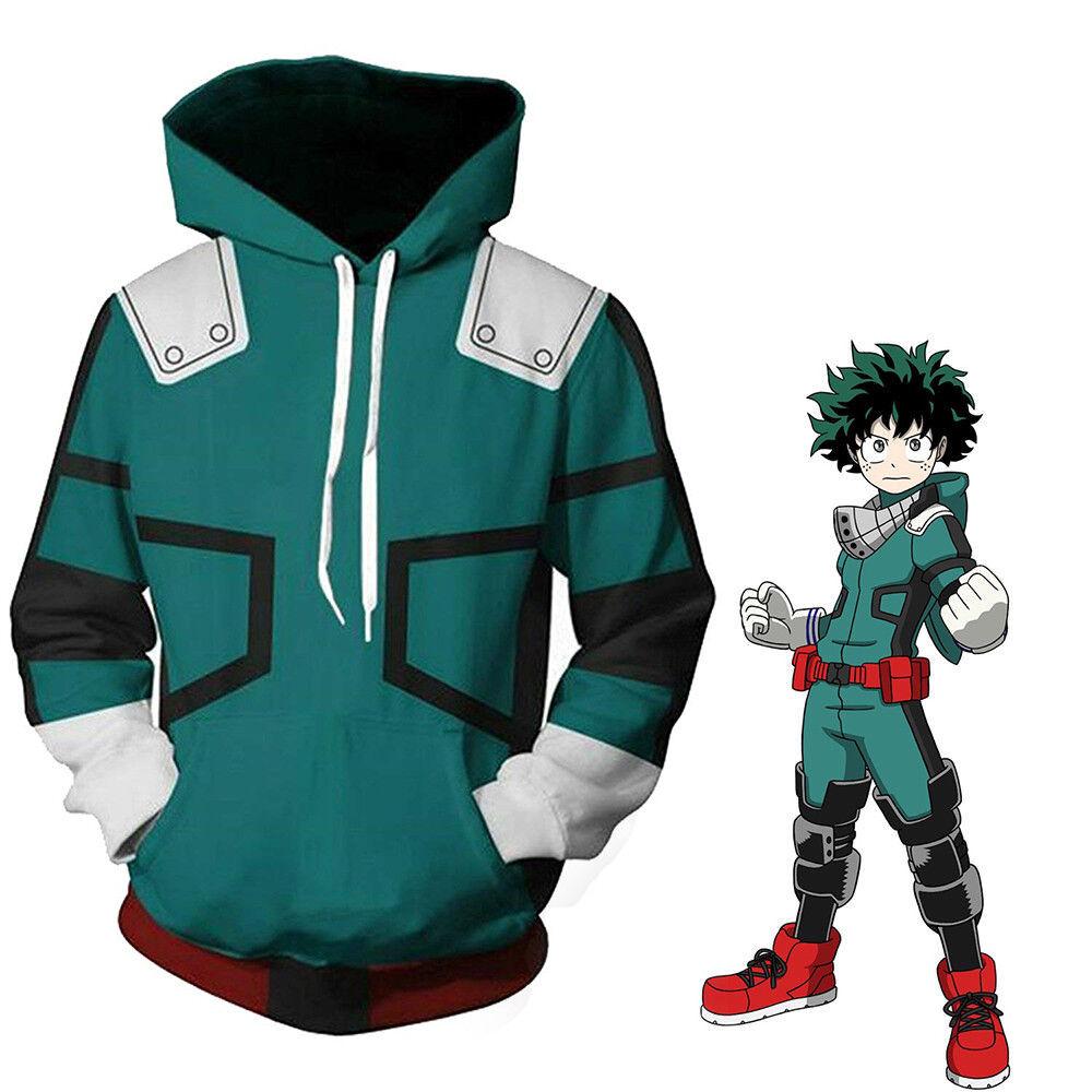 My Hero Academia Boku Izuku Midoriya Cosplay Costume Hoodie Jacket Sweatshirt Clothing, Shoes & Accessories