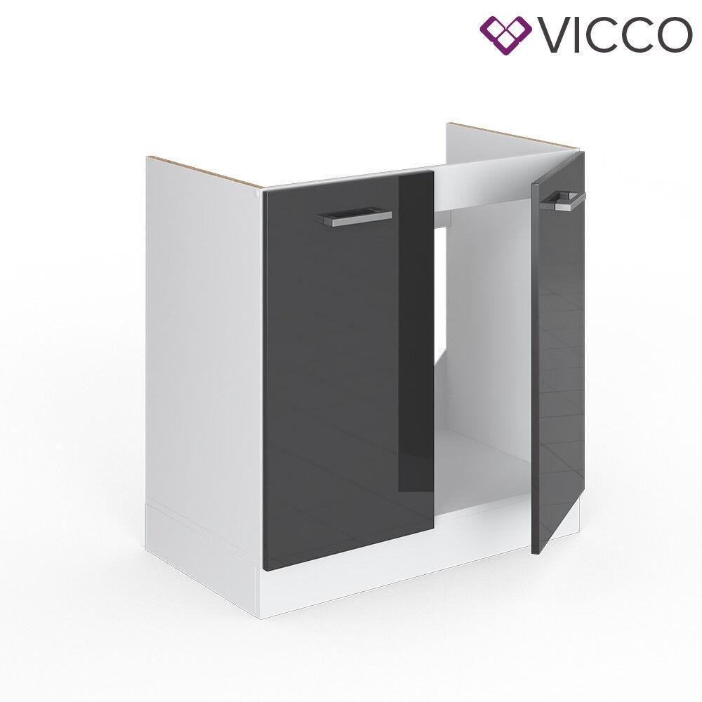 VICCO Küchenschrank Hängeschrank Unterschrank Küchenzeile R-Line Spülenunterschrank 80 cm anthrazit