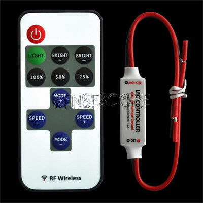 12v Wireless Remote Control (RF Wireless Remote Switch Controller Dimmer Control 12V for Mini LED Strip Light)