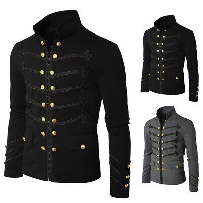 Gothic Military Parade Jacket Tunic Steampunk Men Victorian Costume Punk Outwear