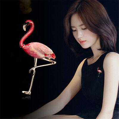 Enamel Flamingo Bird Charm Animal Brooch Pin Betsey Johnson Jewelry Gift