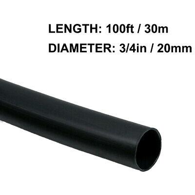 34in 20mm Diameter Heat Shrink Tubing Shrinkable Tube 100ft Black