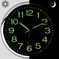 12'' Modern Luminous Large Quartz Wall Clock Non-ticking Fluorescence Indoor US