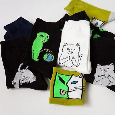 Women Men Spring Cartoon Cat Socks Alien Planet Stockings Art Funny Cotton