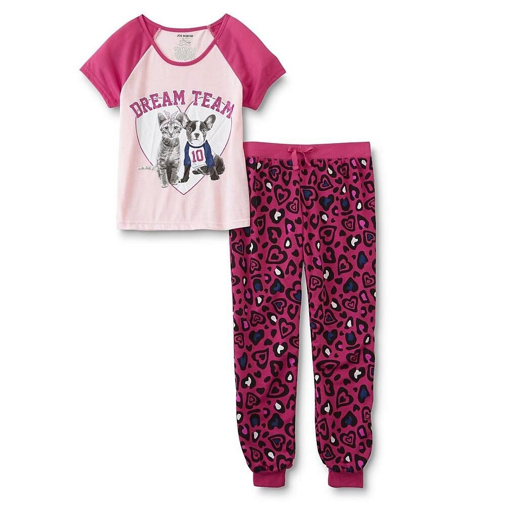 Girls Cat/Dog Pajamas Size 7-8 M, 14-16 XL Pink Heart Top Le