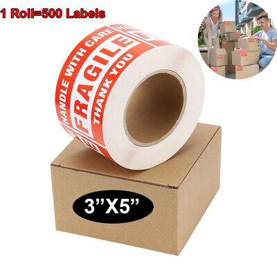 Large 3x5 Handle With Care Fragile Thank You Red Warning Shipping Label Sticker