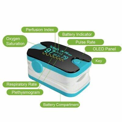 Finger Pulse Oximeter Oxygen Blood Monitor-spo2 Oled Pr Pi Respiration Rate Fda