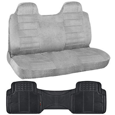 Suited Truck Front Bench Seat Cover & Odorless Floor Mat Liner - Gray Regal