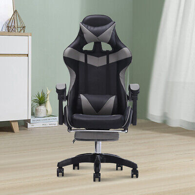 Ergonomic Gaming Racing Chair Footrest Computer Message Seat High Back Recliner