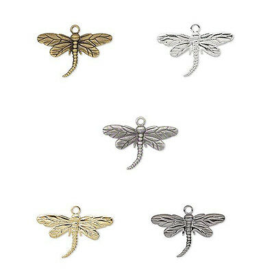20 Dragonfly Dangle Charm Beads Gold Silver Gunmetal or Antique Gold Plated -