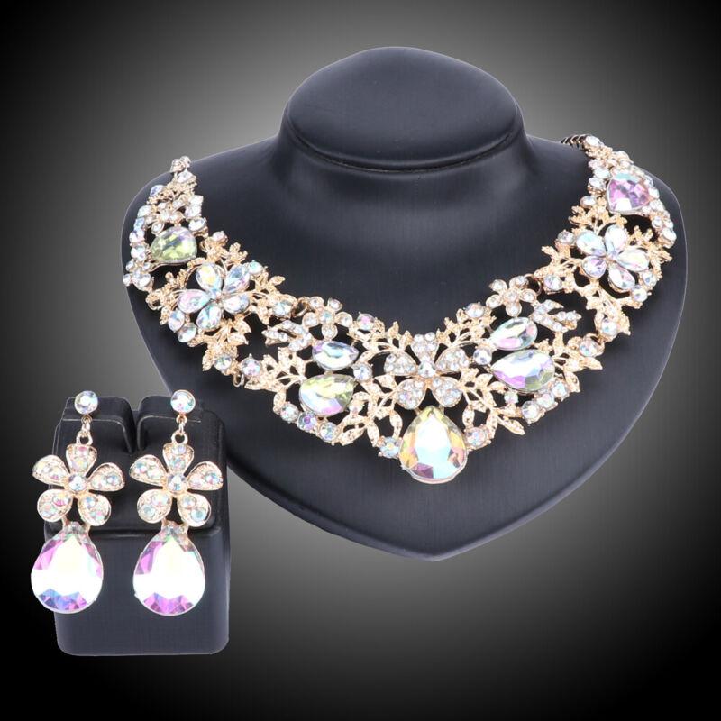 Women Austrian Crystal Rhinestone Bridal Wedding Necklace Earrings Jewelry Set
